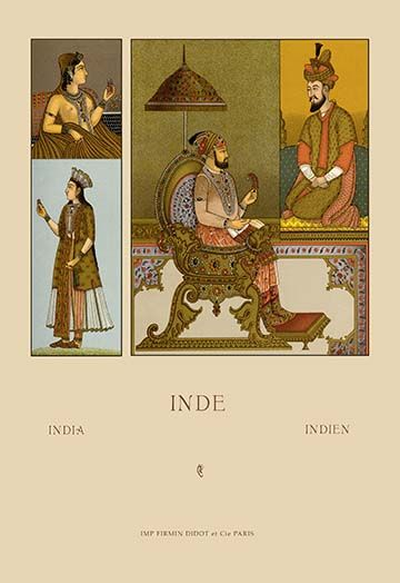India Moguls By Auguste Racinet Art Print Framed Poster Print Painting Prints Art Prints
