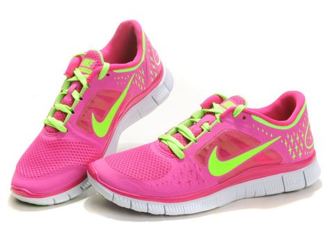a475f807bd786 Nike Free Run 3 Womens Running Pink Green Shoes