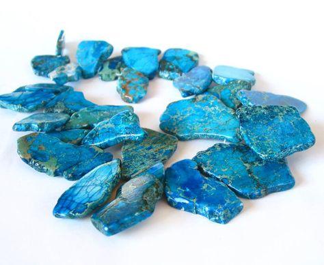 Large Sky Blue Ocean Jasper Cut Slab Beads Making Necklace Jewelry,45-50mm strand Faceted Slice Raw Jasper Teardrop Charm Pendants Findings
