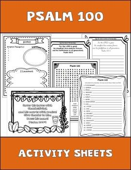 Psalm 100 Bible Study Activity Sheets By Tricia Machel Teachers Pay Teachers In 2020 Bible Study Activities Bible Study For Kids Personal Bible Study