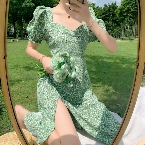 US $18.89 40% OFF Summer Floral Dress Women French Style Puff Sleeve Chiffon Split Fairy Dress Sexy Elegant Korean Style Clothes New Arrival 2020 Dresses    - AliExpress
