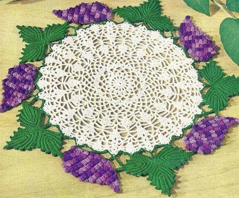 VINTAGE Crocheted Grape Doily