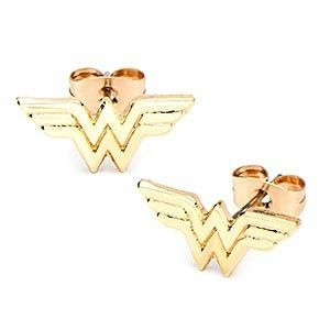 45a516d74 DC Heroes Wonder Woman Logo Shaped Stud Earrings in Gold | Allergy Free |  jewlery | Super hero jewelry, Jewelry, Logo shapes