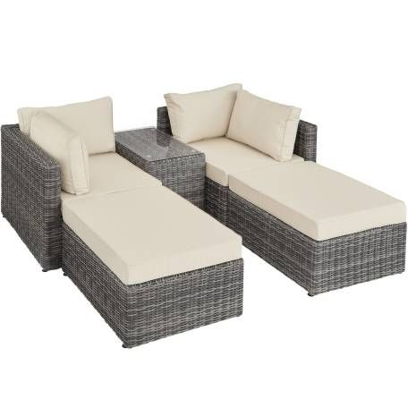 Rattan Lounge Mit Aluminiumgestell San Domino Grau Rattan Gartenmobel Lounge Rattan Rattanmobel