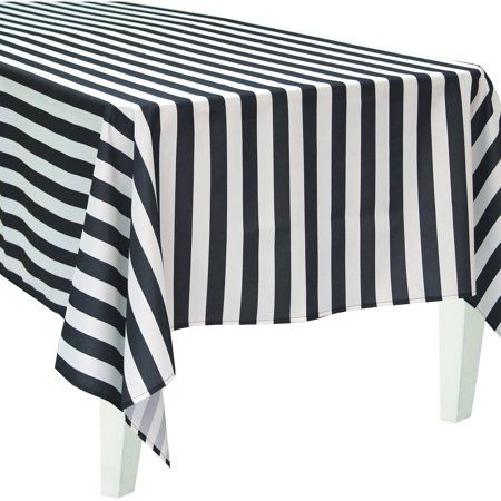 Bigbolo Black And White Striped Rectangular Polyester Tablecloth Walmart Com White Table Cloth Black And White Tablecloth Striped Tablecloths