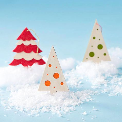 As ornaments or gift embellishments, little wintry trees add handmade flair. Adorn your Christmas tree with beautiful Christmas ornaments made by you and your loved ones! http://www.bhg.com/christmas/ornaments/easy-christmas-ornaments/?socsrc=bhgpin122214handmadetreeornaments&page=7