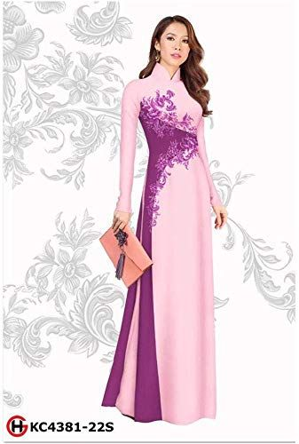 Silk 3D ADVN0405202076 Ao Dai Traditional Vietnamese Long Dress Collections with Pants