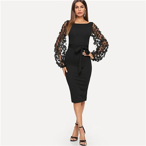Plain flower applique bodycon party dress office mesh sleeve knee length belted women pencil midi dresses