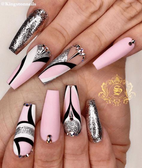 31 Gorgeous Coffin Nails to Take Inspiration From > cherrycherrybeauty.com [Image source: kingstonnails   Instagram] #coffinnails #naildesigns   Long Nails   Nails For Summer   Pink Nails   Patterned Nail Ideas   Silver Glitter Nails   Pink and Silver Nails
