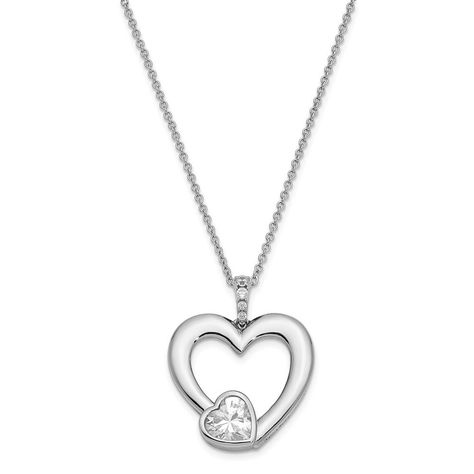 Sterling Silver Antiqued CZ Love You Mom 18in Necklace and Pendant