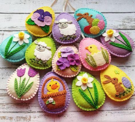 Felt Easter decorations, Felt Easter eggs, Easter decor, Felt Easter ornaments / set of 12 decorated