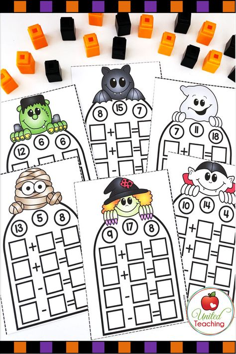 The Free Halloween Fact Families Math Center is a fun way for your students to practice writing fact families and to learn their addition and subtraction math facts. Make this a hands on Math… Halloween Math Worksheets, Halloween Activities, Fact Family Worksheet, First Grade Crafts, 2nd Grade Activities, Halloween Facts, Math Crafts, Free Math, Fact Families