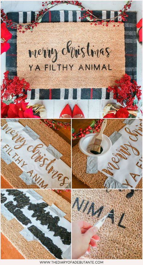 DIY Painted Doormat- Merry Christmas Ya Filthy Animal