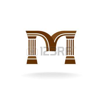 Pilier Lettre M Logo Avec Des Colonnes Architecture