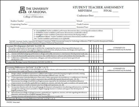 Student Teacher Evaluation Form College of Education Diana - staff evaluation