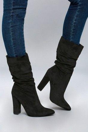 Calf boots heels