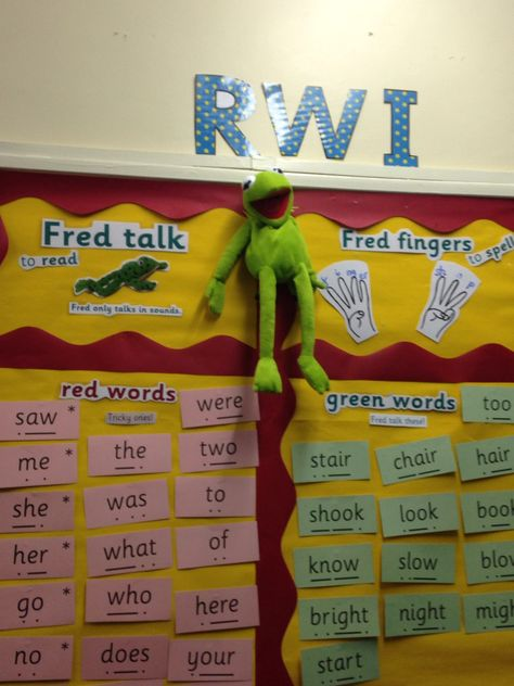 Read Write Inc display. Green and Red words