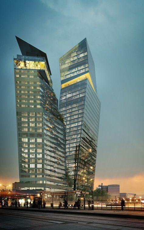 Paris Duo Towers Jean Nouvel Skyscraper Architecture Futuristic Architecture Architecture