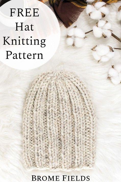 Knit Hat Pattern Easy, Beanie Knitting Patterns Free, Designer Knitting Patterns, Loom Knitting, Free Knitting, Sweater Patterns, Crochet Patterns, Knitting Projects, Crochet Projects