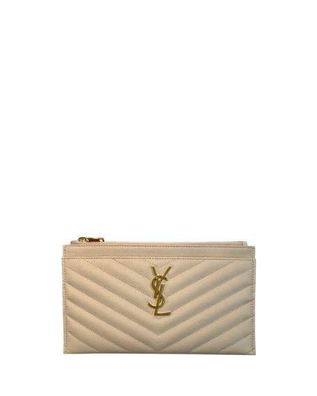 12ae9dff4e4 Monogram YSL Matte Quilted Bill Pouch Wallet by Saint Laurent at Neiman  Marcus