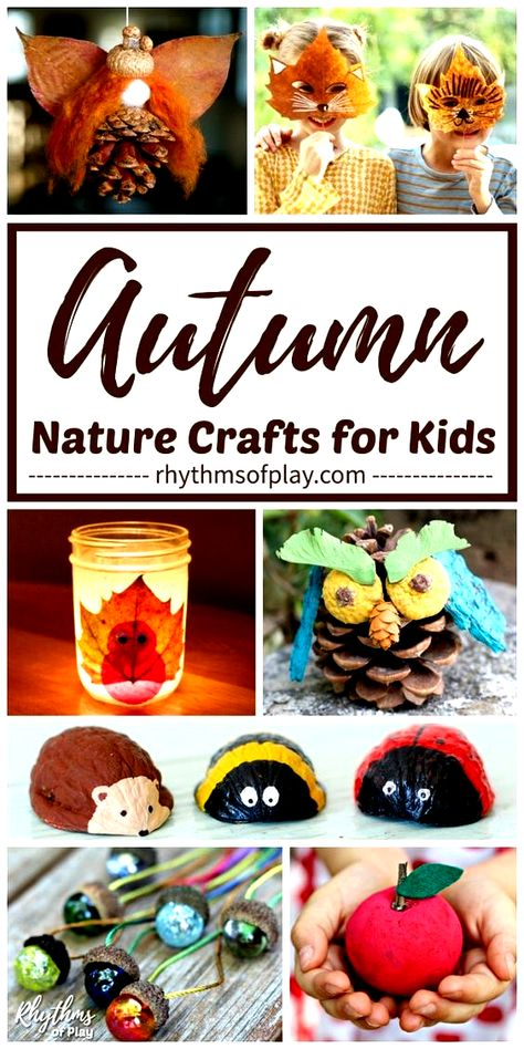 Fall Nature Crafts - Heres a round-up of some fun, engaging, and beautiful fall nature crafts for kids, teens and adults. Make DIY autumn nature crafts with acorns, leaves, pinecones, walnuts, and more with this amazing collection of nature craft ideas for toddlers, preschoolers and kids of all ages! | #FallCrafts #AutumnCrafts #NatureCrafts #CraftsforKids #KidsCrafts