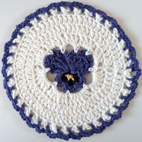 Pansy dishcloth free crochet pattern