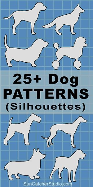 Dog breeds silhouettes patterns, stencils, and templates for coloring, scroll saw, laser cutting. Wood Carving Patterns, Stencil Patterns, Applique Patterns, Wood Patterns, Dog Template, 3d Templates, Stencil Templates, Animal Templates, Silhouette Images