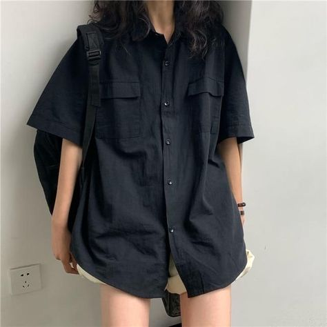 Blouses Women Japan Style Harajuku Simple Short Sleeve Summer Womens Chic Tops Retro All-match Pockets Trendy Girls Shirts New - black / M