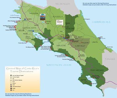 Map Of Costa Rica S Tourist Attractions Costa Rica Map Costa