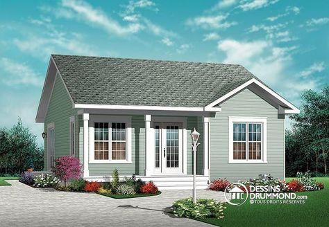 Plain-pied américain très économique, 2 chambres, sous-sol aménageable   http://www.dessinsdrummond.com/detail-plan-de-maison/info/1002480.html