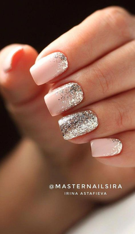 41 Gorgeous Wedding Nail Designs for Brides, bridal nails 2019,wedding nails bride,wedding nails with glitter, nails for wedding guest #weddingnails #nails #bridenails #glitternails #bridalnails elegant wedding nails, nail art design for wedding