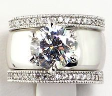 Wide Band Diamond Wedding and Engagement Rings Jewelry Pinterest