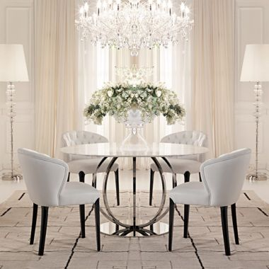 Large Round Italian Champagne Leaf Dining Table And Chairs Set Marble Dining Dining Table Design Dining Table
