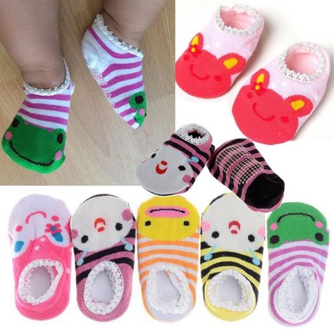 JN/_ Baby Boy Girls Toddler Ankle Socks Cartoon Animal Anti Slip Cotton Socks N