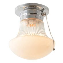 Mid Century Center Post Ceiling Light Vintage Glass New Pull Chain ...