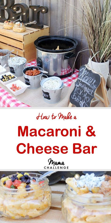 Best Macaroni & Cheese for a Macaroni & Cheese Bar What's better than macaroni and cheese? Well except macaroni and cheese with stuff in it. Make your next dinner, girls' night or cookout the easiest and cheesiest with a macaroni and cheese bar. Pasta Bar, Macaroni Cheese, Mac And Cheese, Party Food Bars, Bar Food, Teen Party Food, Party Food Menu, Wedding Food Bars, Graduation Party Foods