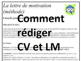 Comment Ecrire Un Cv Et Un Lettre De Motivation French Lessons Motivation Lesson