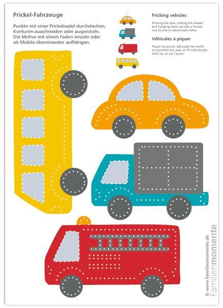 Fahrzeuge Zum Prickeln Eines Mobiles Bastelbogen Mit Vier Fahrzeugen Bus Auto Lastwagen Und Feuerwehrauto Auto Basteln Bastelbogen Schultute Basteln
