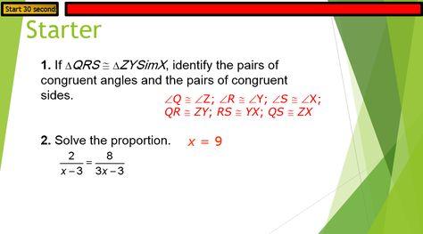 الرياضيات المتكاملة بوربوينت Similar Polygons بالإنجليزي للصف التاسع Solving