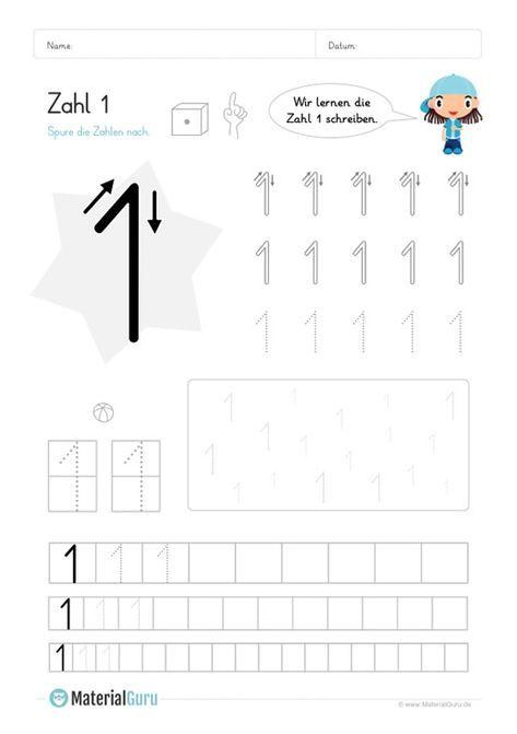 Kostenlose Arbeitsblatter Und Ubungen Zur Zahl 1 Fur Den Mathe Unterricht An Der Grundschule Zum Herun Zahlen Lernen Vorschule Schreiben Lernen Matheunterricht