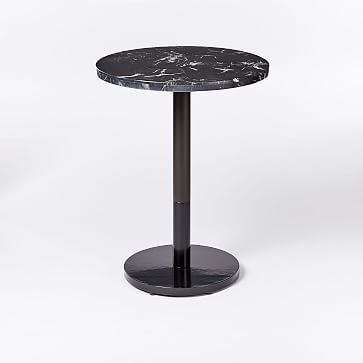 Black Marble Round Bistro Table Orbit Base Bistro Table Black