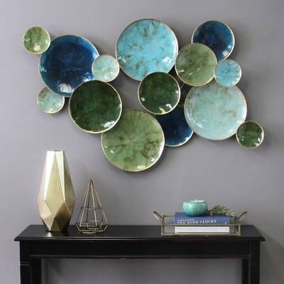 Warm Copper Patina By Jasmine Mills 3 Piece Wrapped Canvas Painting Print Set Plates On Wall Living Wall Decor Plate Wall Decor
