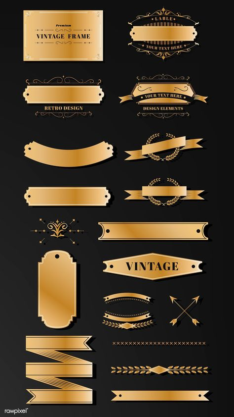 Vintage gold badge template vector collection | premium image by rawpixel.com