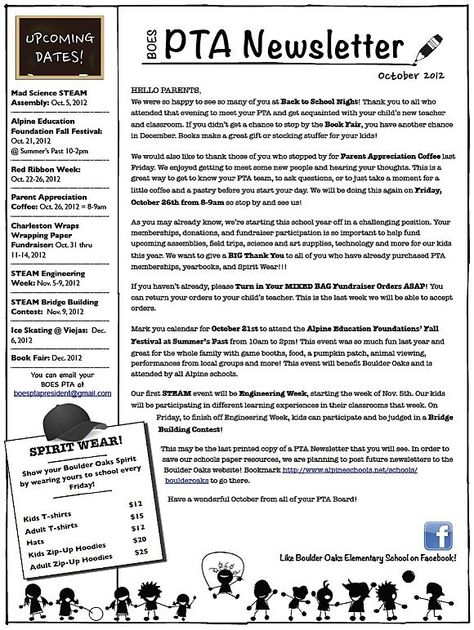 Boulder Oaks Elementary School PTA Newsletter - October 2012