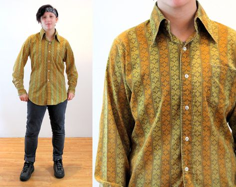 Beautiful Silky Mustard Camo Print 80s Blouse with Shoulder Pads and Ties at Waist