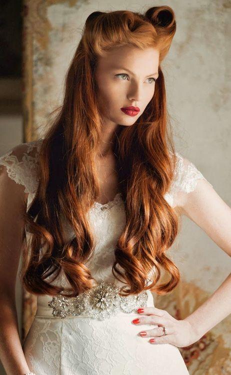 plus belles coiffures vintage cheveux longs avec rouleaux de pin up