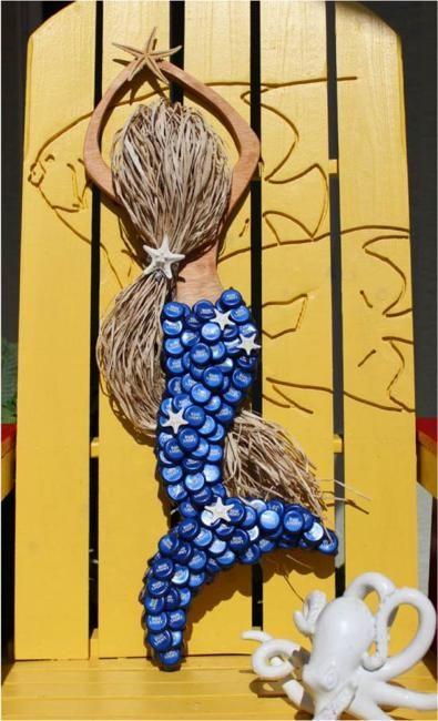 I/'m Really A Mermaid Recycled Bottle cap Keychain Handpainted