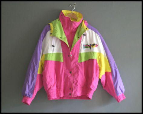 Vintage bright neon ski jacket retro shell suit top vintage ski j