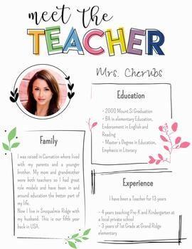 Free Meet The Teacher Editable Templates Meet The Teacher Template Meet The Teacher Letter To Teacher