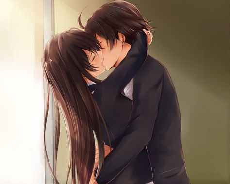 Anime My Teen Romantic Comedy SNAFU  Yukino Yukinoshita Hachiman Hikigaya Long Hair Brown Hair School Uniform Kiss Short Hair Girl Boy Wallpaper